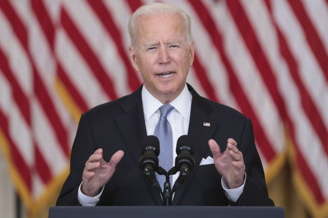 U.S. President Joe Biden defends the withdrawal of American troops from Afghanistan at of the White House on Monday. Photo by Oliver Contreras/UPI