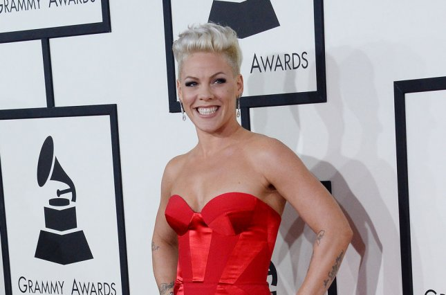 Singer Pink arrives for the 56th annual Grammy Awards at Staples Center in Los Angeles on January 26, 2014. UPI/Jim Ruymen