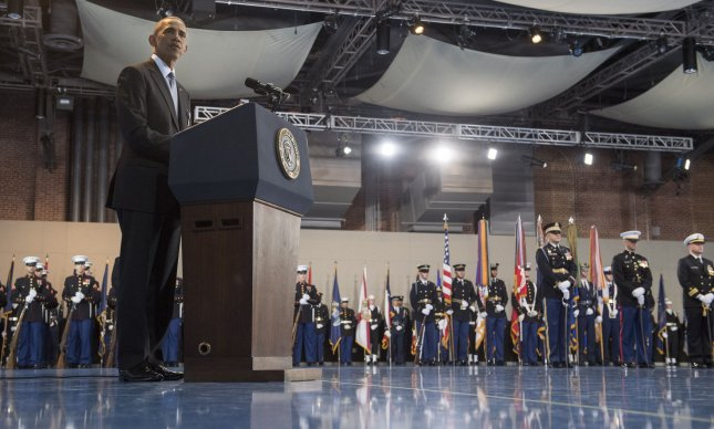 President Barack Obama speaks during his armed forces farewell ceremony at Joint Base Myers-Henderson Hall, in Virginia on Wednesday. The five branches of the military honored the president and vice-president for their service as they conclude their final term in office. Photo by Kevin Dietsch/UPI