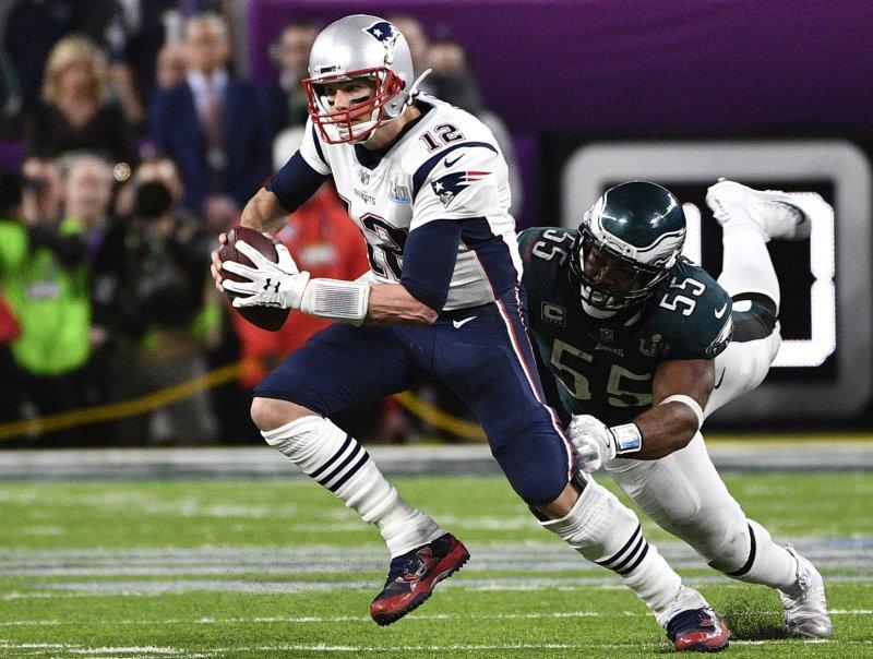New England Patriots quarterback Tom Brady scrambles against the Philadelphia Eagles during Super Bowl LII in February. Photo by Brian Kersey/UPI
