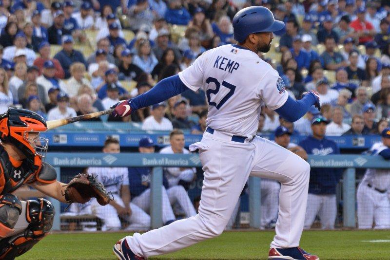 Los Angeles Dodgers outfielder Matt Kemp. Photo by Jim Ruymen