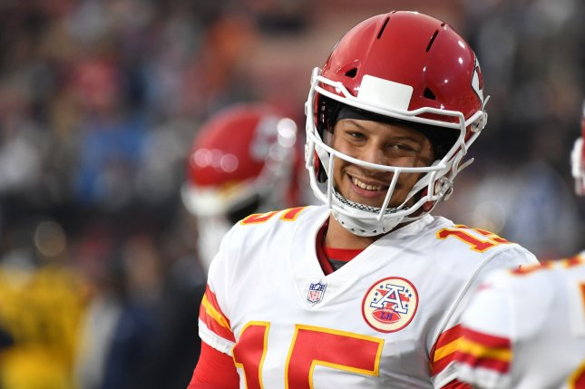 Kansas City Chiefs quarterback Patrick Mahomes smiles prior to a game against the Los Angeles Rams on November 19 in Los Angeles. Photo by Jon SooHoo/UPI