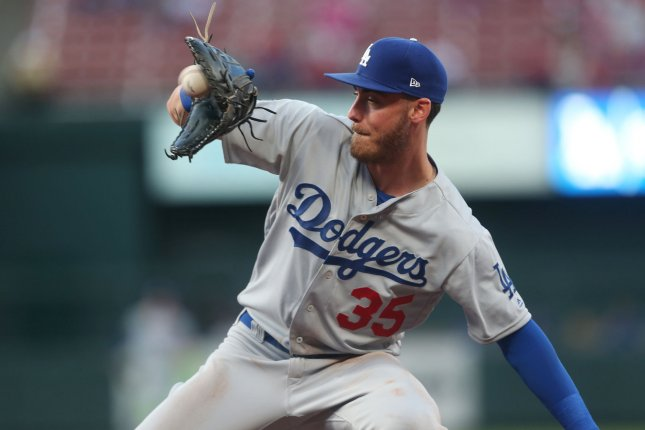 Los Angeles Dodgers right fielder Cody Bellinger recorded a rare 9-3 putout against the Nationals on Sunday. File Photo by Bill Greenblatt/UPI