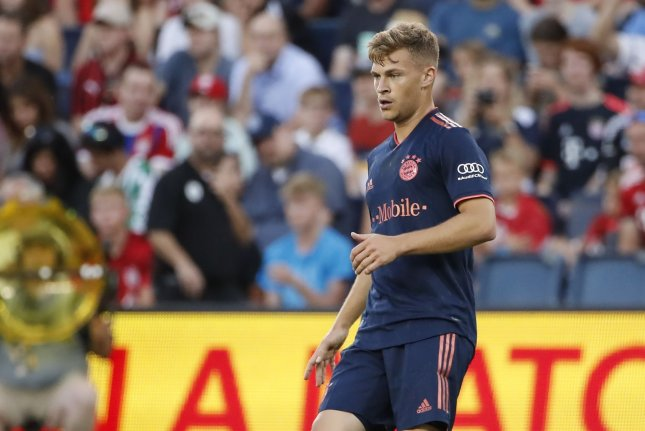 Bayern Munich defender Joshua Kimmich scored the lone goal in his club's 1-0 victory over Borussia Dortmund on Tuesday. File Photo by Kamil Krzaczynski/UPI