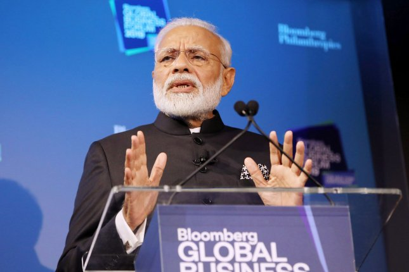 Indian Prime Minister Narendra Modi speaks at the Bloomberg Global Business Forum in New York City last September. File Photo by Monika Graff/UPI