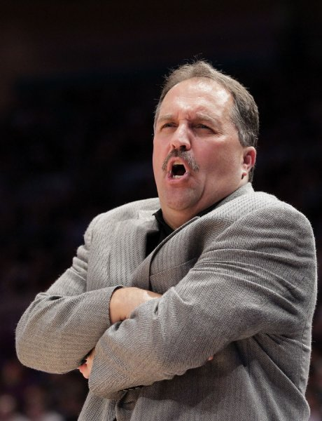 Orlando Magic Coach Stan Van Gundy reacts to a play in a game against the New York Knicks March 28, 2011. UPI/John Angelillo