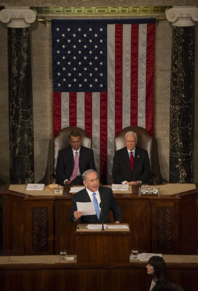 Israeli Prime Minister Benjamin Netanyahu addresses a joint session of the United States Congress on Capitol Hill in Washington, DC on March 3, 2015. In the background are Republicans House Speaker John Boehner (L), who invited Netanyahu, and Senate Pro Tempore Orrin Hatch, who took the place of Democratic Vice President Joe Biden. In a divisive speech, Netanyahu argued against any deal with Iran on their nuclear capability as nuclear negotiations continue with the Obama administration and Iran in Geneva. Photo by Pat Benic/UPI