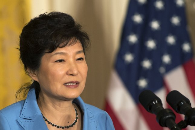 South Korean President Park Geun-hye makes a point during a joint press conference with U.S. President Barack Obama in the East Room of the White House in Washington, DC on October 16, 2015. North Korea condemned Seoul's spy agency for releasing North Korean documents that reportedly showed written orders from Pyongyang to portray the August landmine explosions as a fabrication of the president's office. Photo by Pat Benic/UPI