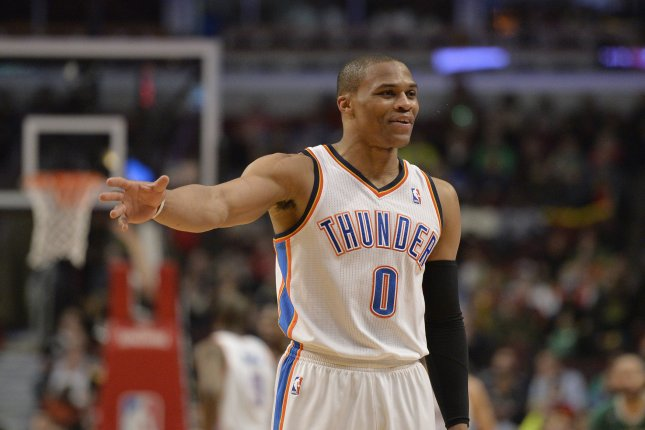 Russell Westbrook collected his 32nd triple-double of the season to lead the Thunder to a 112-104 victory over the Utah Jazz Saturday at the Chesapeake Energy Arena. File Photo by Brian Kersey/UPI