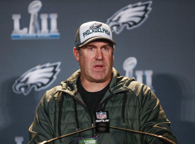 Philadelphia Eagles coach Doug Pederson speaks to the media at the Super Bowl LII press conference in January. Photo by Kamil Krzaczynski/UPI
