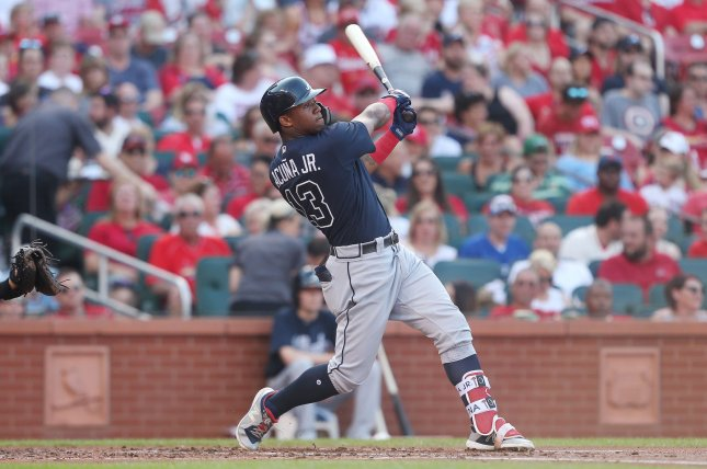 Atlanta Braves star Ronald Acuna Jr. watches as his two run home run leaves the park in the second inning against the St. Louis Cardinals on June 30 at Busch Stadium in St. Louis. Photo by Bill Greenblatt/UPI