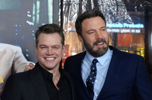 Actor-writers Ben Affleck (R) and Matt Damon have signed on to star in Ridley Scott's medieval action movie, The Last Duel. File Photo by Jim Ruymen/UPI