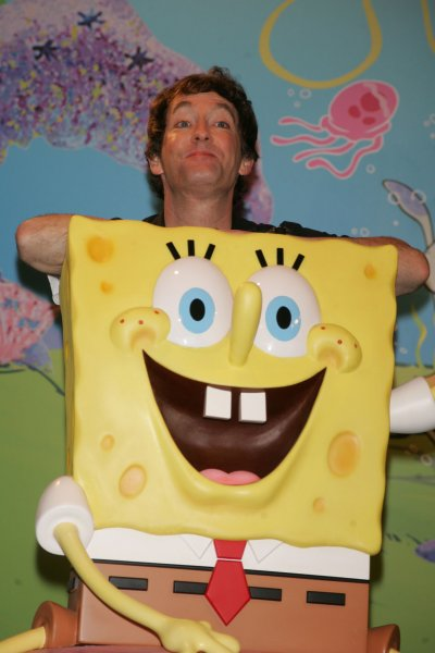 Tom Kenny, the voice of Spongebob Squarepants, poses with Spongebob Squarepants wax figure after it is unveiled at Madame Tussauds in New York on July 15, 2009. Spongebob Squarepants is the first animated character to receive a figure made entirely of wax by Madame Tussauds. (UPI Photo/Laura Cavanaugh)