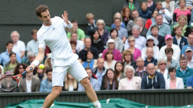 Great Britain's Andy Murray wrote in his BBC column that he would be interested in playing Serena Williams. UPI/Hugo Philpott