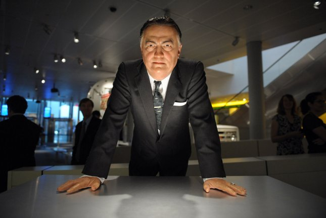 A wax figure of J. Edgar Hoover is on display during a preview of the Newseum's new exhibit, G-Men and Journalists: Top News Stories of the FBI's First Century in Washington, on June 17, 2008. The exhibit, which opens June 20, corresponds with the FBI's 100th anniversary. File Photo by Roger L. Wollenberg/UPI