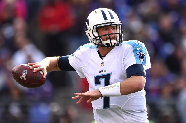 Former Tennessee Titans quarterback Zach Mettenberger looks to pass against the Baltimore Ravens in the second quarter at M&T Bank Stadium in Baltimore, Maryland on November 9, 2014. UPI/Kevin Dietsch