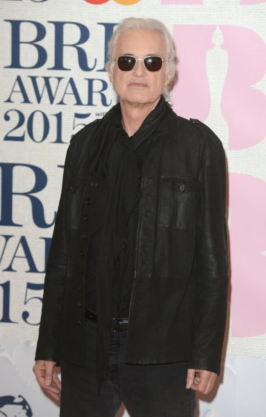 Led Zeppelin guitarist Jimmy Page attends The Brit Awards 2015 in London in 2015. He and Led Zeppelin front man Robert Plant are on trial, accused of stealing the opening guitar lyrics for Stairway to Heaven from a 1960s acoustic number by rock band Spirit. Plant testified Tuesday. File Photo by Paul Treadway/UPI