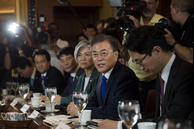 President of South Korea Moon Jae-in speaks while meeting with House Speaker Paul Ryan, R-Wis, at the U.S. Capitol in Washington, D.C., on Friday. Photo by Molly Riley/UPI