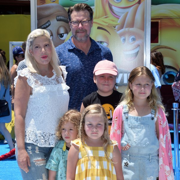 Tori Spelling, Dean McDermott and their children Finn, Liam, Stella and Hattie attend the Los Angeles premiere of The Emoji Movie on July 23. The couple also share 6-month-old son Beau. File Photo by Jim Ruymen/UPI
