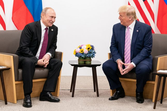 U.S. President Donald Trump meets with Russian President Vladimir Putin on June 28 during the G20 summit in Osaka, Japan. File Photo by the White House/Shealah Craighead/UPI