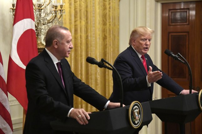 President Donald Trump and Turkish President Recep Tayyip Erdogan spoke by phone late Monday. File Photo by Mike Theiler/UPI