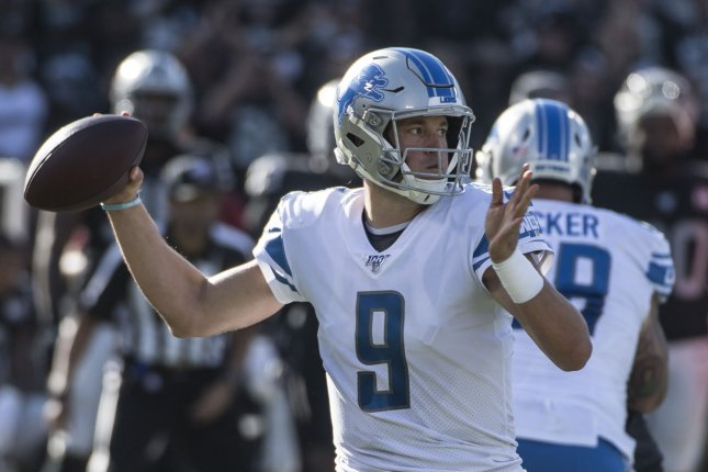 Detroit Lions starting quarterback Matthew Stafford on Saturday became the eighth member of the team to be placed on the reserve/COVID-19 list. File Photo by Terry Schmitt/UPI