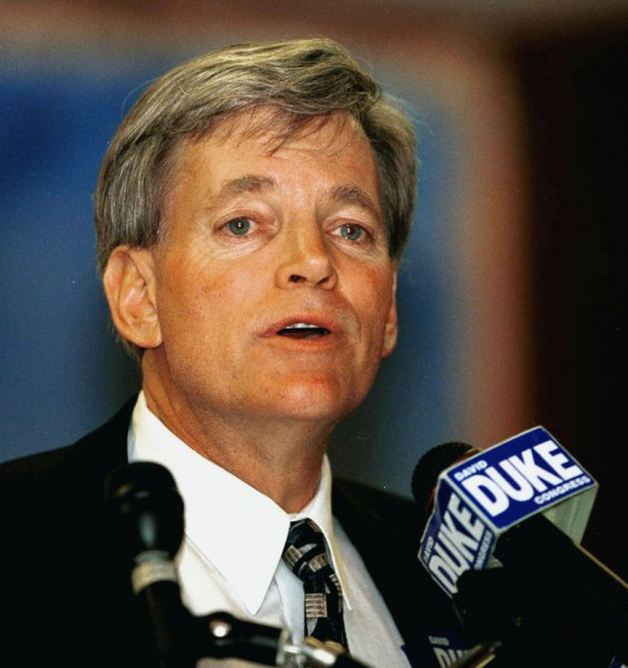 Former Ku Klux Klan Grand Wizard and politician David Duke is assessing whether to run for president. He is seen here campaigning for Congress in New Orleans on April 29, 1999. rlw/A.J. Sisco/FILE UPI