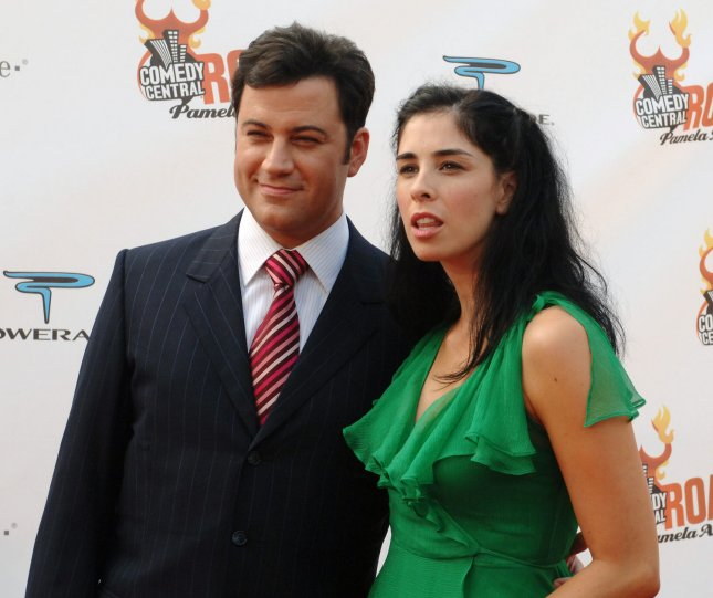 Talk show host Jimmy Kimmel (L) and his girlfriend, comedian Sarah Silverman arrive for the taping of Comedy Central's Roast of Pamela Anderson, at Sony Studios in Culver City, California August 7, 2005. Anderson is Comedy Central's first woman roastee. The show is scheduled to air in the United States on Sunday, August 14. .(UPI Photo/Jim Ruymen)