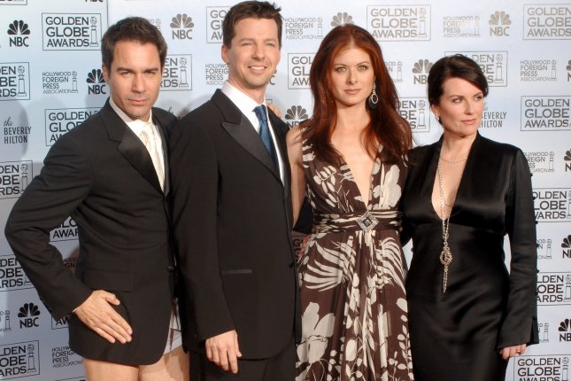 Will & Grace co-stars (L-R) Eric McCormack, Sean Hayes, Debra Messing and Meghan Mullally pose for pictures at the 63rd annual Golden Globe Awards in Beverly Hills on January 16, 2006. The show initially ran 1998-2006, but will return to NBC with fresh episodes Thursday. File Photo by Jim Ruymen/UPI