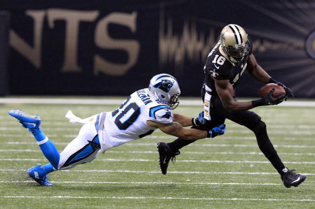 New Orleans Saints wide receiver Brandon Coleman (16) takes a Drew Brees pass 18 yards against former Carolina Panthers safety Kurt Coleman (20) during the first quarter on December 6, 2015 at the Mercedes-Benz Superdome in New Orleans. File photo by AJ Sisco/UPI