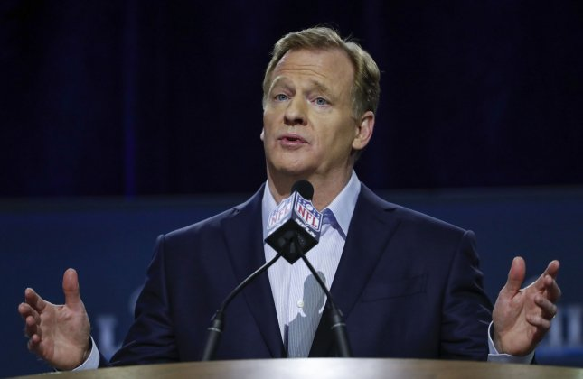 NFL commissioner Roger Goodell speaks with the media prior to Super Bowl LII at Hilton Minneapolis in Minneapolis in January. Photo by Kamil Krzaczynski/UPI