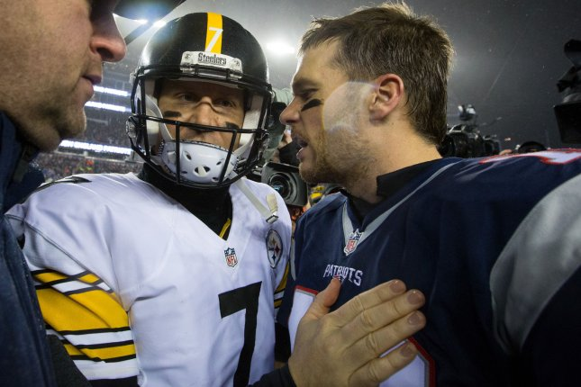 Pittsburgh Steelers quarterback Ben Roethlisberger (L) and New England Patriots quarterback Tom Brady battle in Week 1 of the 2019 NFL season. File Photo by Matthew Healey/ UPI