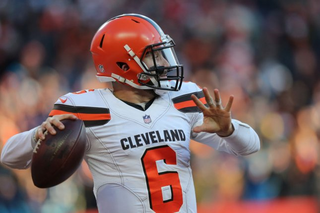 Cleveland Browns quarterback Baker Mayfield posted six wins during his rookie campaign after being selected as the No. 1 overall pick in the 2018 NFL Draft. File Photo by Aaron Josefczyk/UPI
