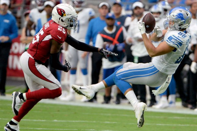 Detroit Lions rookie tight end T. J. Hockenson (R) had 131 yards and a touchdown on six catches during his NFL debut against the Arizona Cardinals on Sunday in Glendale, Ariz. Photo by Art Foxall/UPI