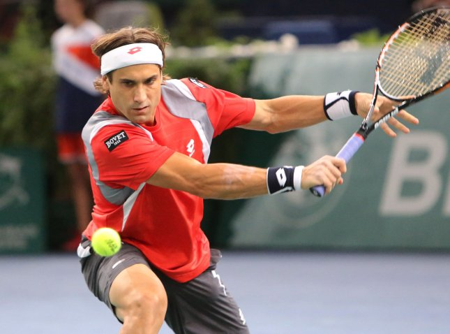 David Ferrer, shown in a November 2012 match, won his second-round match at the Australian Open in four sets Wednhesday. UPI/David Silpa