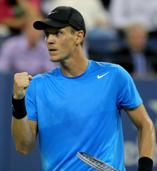 Tomas Berdych, shown in a 2012 match, picked up a win Friday that put him in the semifinals of the Thailand Open. Berdych is the No. 1 seed at the tournament. UPI Photo/Monika Graff