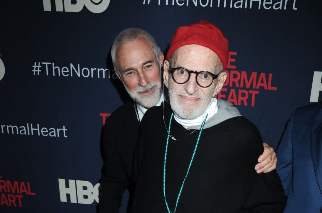 Larry Kramer arrives on the red carpet for a screening of The Normal Heart in New York City last year. He says he is working on a sequel. File Photo by Dennis Van Tine/UPI