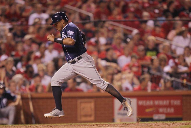 San Diego Padres Yangervis Solarte crosses home plate. Photo by Bill Greenblatt/UPI