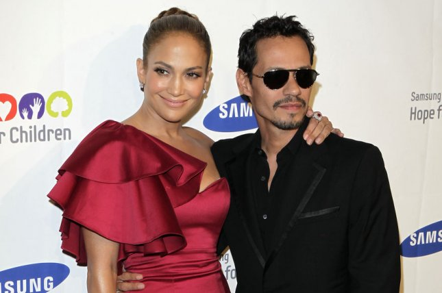 Jennifer Lopez (L) and Marc Anthony attend the Samsung Hope for Children gala on June 7, 2011. The singer discussed her relationship with Anthony on Monday's episode of Live with Kelly. File Photo by John Angelillo/UPI
