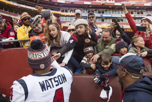 Houston Texans quarterback Deshaun Watson (4) greets fans after the Texans defeated the Washington Redskins 23-21 on November 18 at FedEx Field in Landover, Md. Photo by Kevin Dietsch/UPI