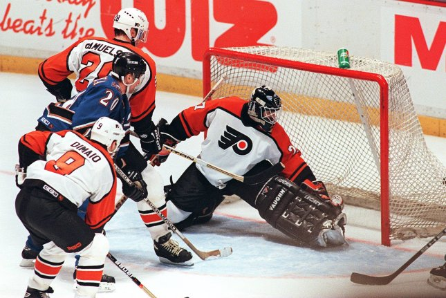 On April 11, 1989, Philadelphia Flyers' Ron Hextall became the first NHL goaltender to score in a playoff game, defeating the Washington Capitals. UPI File Photo