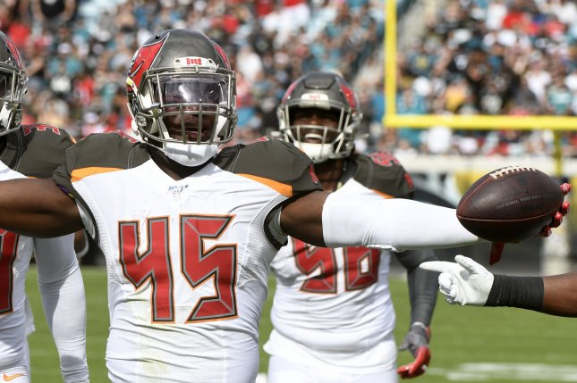 Devin White (45) and the Tampa Bay Buccaneers have a projected win total of nine games in 2020, according to Caesars. File Photo by Joe Marino/UPI
