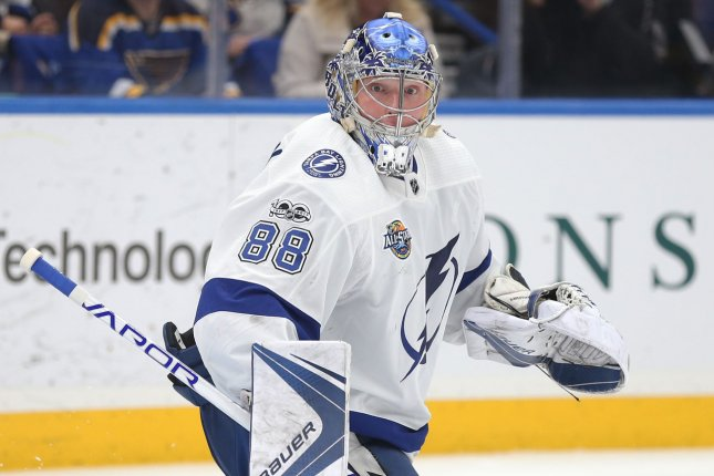 Goaltender Andrei Vasilevskiy and the Tampa Bay Lightning own a 2-1 lead on the Dallas Stars in the 2020 Stanley Cup Final as the series enters Game 4 Friday in Edmonton, Alberta, Canada. File Photo by Bill Greenblatt/UPI
