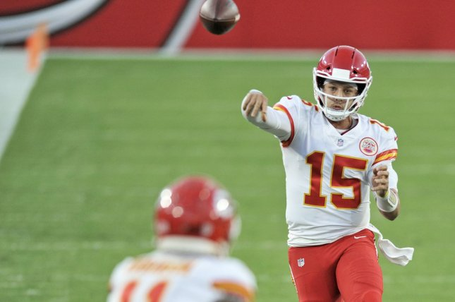 Kansas City Chiefs star Patrick Mahomes was designated as the starting quarterback for the AFC in the 2021 Pro Bowl. File Photo by Steve Nesius/UPI
