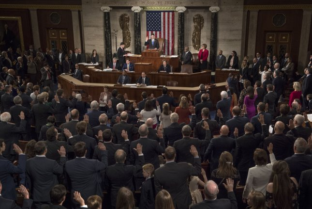 Speaker Paul Ryan, R-Wis., swears in members of the House of Representatives during the opening of the 115th Congress in the U.S. Capitol Building in Washington, D.C., on January 3, 2017. Photo by Kevin Dietsch/UPI