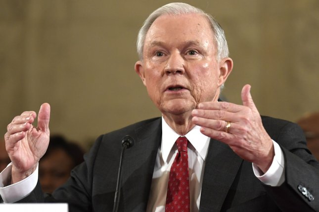 Sen. Jeff Sessions, R-Ala., testifies before the Senate Judiciary Committee confirmation hearings to be the next U.S. attorney general on January 10. Sessions met twice with Russia's ambassador to the United States last year and failed to mention it during his confirmation hearings, Justice Department officials said. File photo by Mike Theiler/UPI