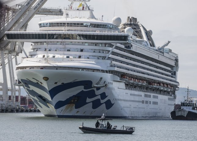 The cruise ship Grand Princess eases into a berth in the Port of Oakland, Calif., in March. The ship was held in quarantine with 21 diagnosed cases of Covid-19 virus aboard at the time. Photo by Terry Schmitt/UPI