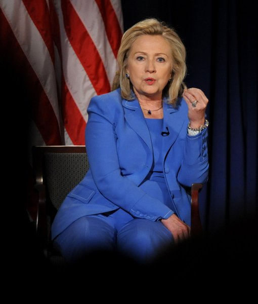 Secretary of State Hillary Clinton, shown Aug. 16, 2011, at the National Defense University in Washington. UPI/Roger L. Wollenberg
