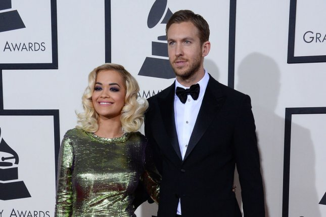 Rita Ora (L) and Calvin Harris at the 56th Grammy Awards in Jan. 2014. The former couple dated for a year before breaking up. File photo by Jim Ruymen/UPI