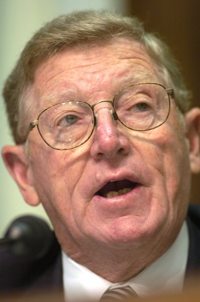Former Republican Sen. Conrad Burns of Montana, seen here in 2004, died at age 81. Photo by Greg Whitesell/UPI